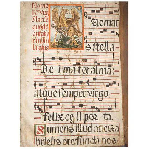 Libro de Coro. México, Siglo XVIII. Texto manuscrito a dos tintas, sobre pergamino. Capitulares decoradas, con detalles en dorado.