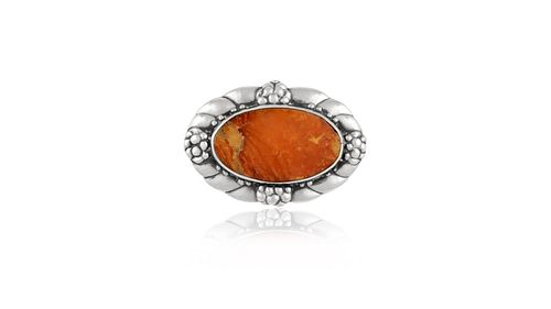 Antique Georg Jensen Brooch With Large Amber Stone