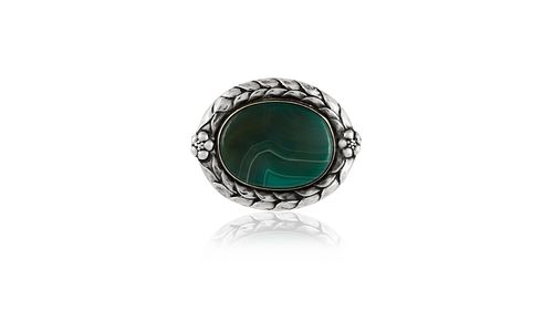 Antique Georg Jensen Brooch With Slab Agate