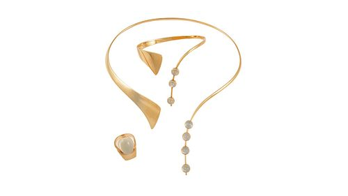 Bent Gabrielsen 14kt Gold Jewelry Suite With Moonstones