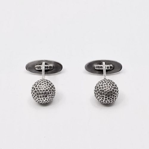 Vintage Georg Jensen Sterling Silver Golf Ball Cufflinks #132