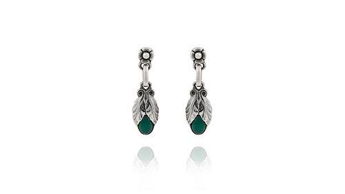 Georg Jensen Sterling Silver Heritage Earrings 2008 Green Agate