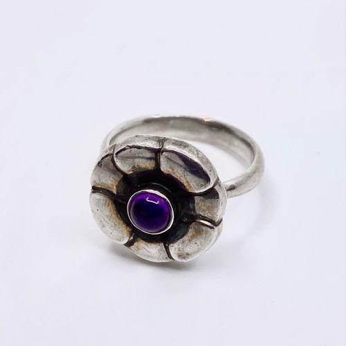 Georg Jensen Sterling Silver Moonlight Blossom Ring #36 Amethyst