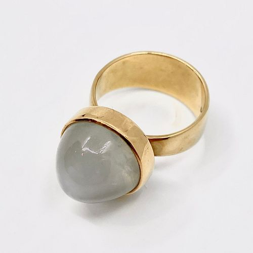 Mid-Century Danish 14kt Gold Ring With Moonstone