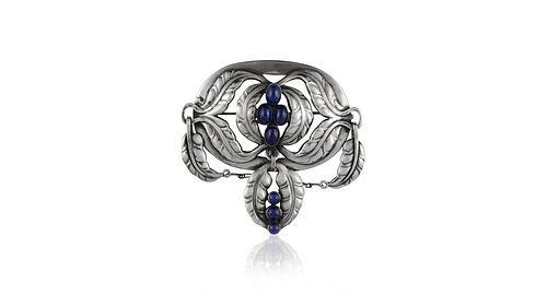 Rare Antique Georg Jensen Brooch #26 Lapis Lazuli