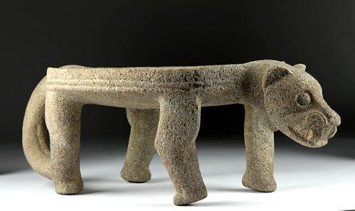 9th C. Costa Rican Chiriqui Stone Metate Jaguar Form