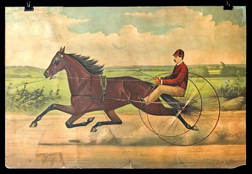 Scott Leighton Lithograph of Horse Racer - 1885