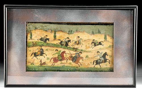 19th C. Persian Painting - 8 Hunters on Horseback