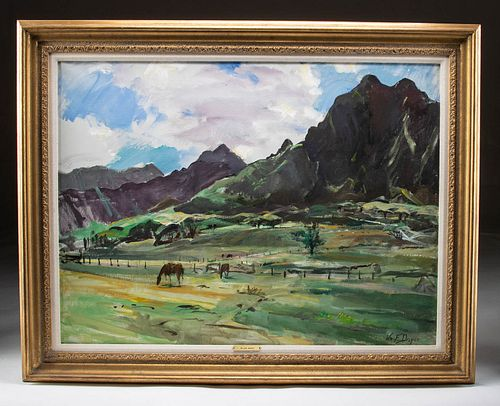 Exhibited Draper Painting - Hawaii Horse Ranch - 1975