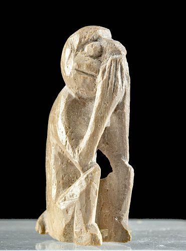 Egyptian Bone Amulet Seated Monkey