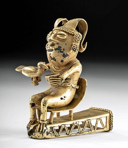 Sinu Tumbaga Seated Shaman Finial w/ Bird