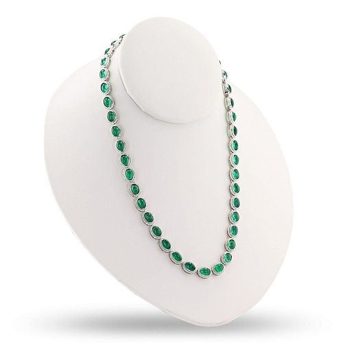 38.64ctw Emerald and 2.66ctw Diamond 14K White Gold Necklace