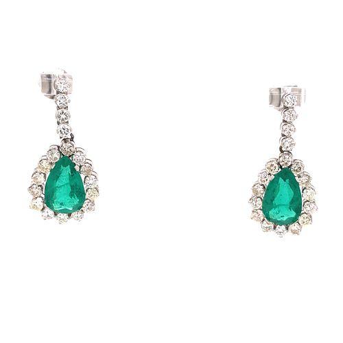 Platinum Diamond Emerald Drop Earrings