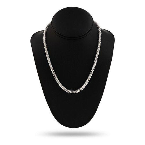 29.63ctw Diamond 14K White Gold Tennis Necklace