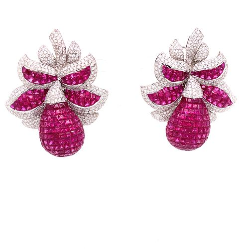 18k Diamond Ruby Invisible Setting EarringsÊ