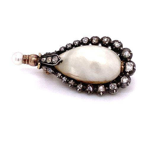 Gold & Silver Victorian Diamond Natural Pearl Broach