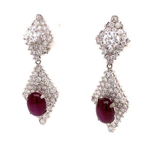 Star Ruby & Diamond Earrings