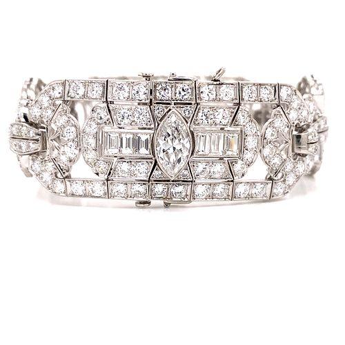 Platinum IRDI Art Deco Diamond Bracelet