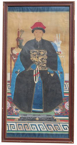 Palatial Chinese Qing Dynasty Ancestral Portrait