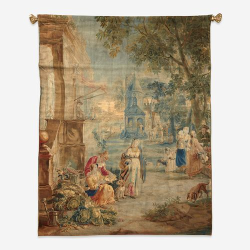 """A Brussels Tapestry of """"The Village Market"""", Attributed to Jan-Frans Van Der Borght, after designs by David Teniers the Younger (161..."""