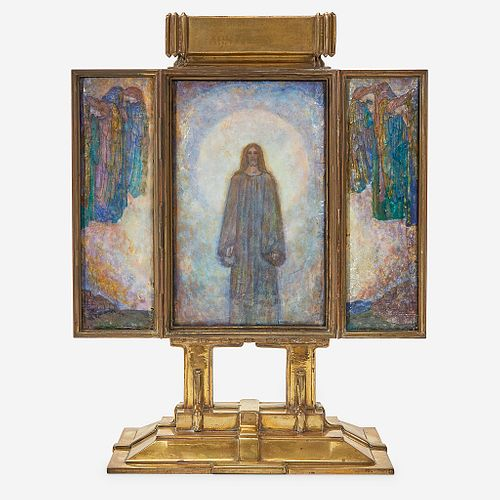 """An Arts & Crafts Brass and Foil-Backed Enamel Triptych Altarpiece, """"Behold I Stand at the Door and Knock"""", Alexander Fisher (British, 1864-1936), late"""