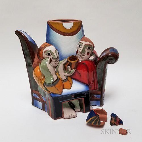 Studio Pottery Glazed Figural Teapot