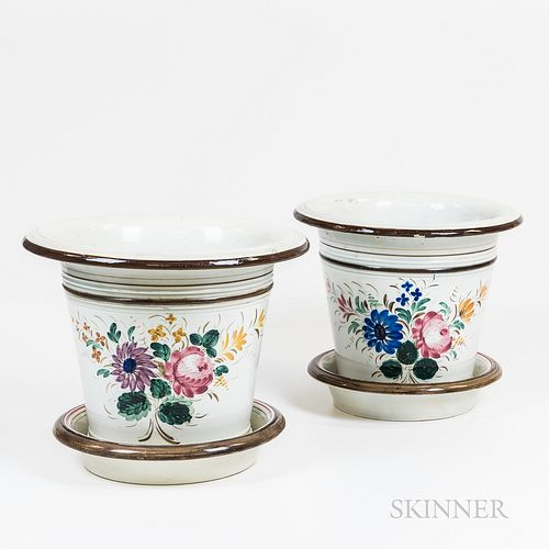 Pair of Earthenware Jardinieres with Bases