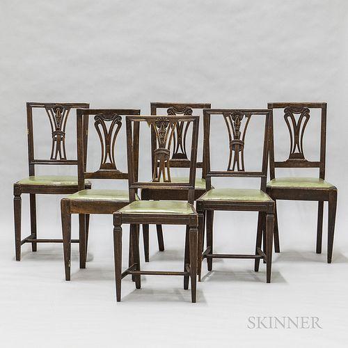 Set of Six Walnut Dining Chairs
