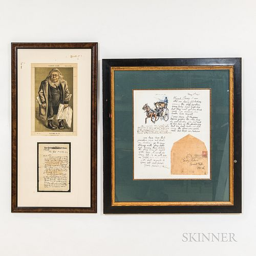 Two Framed Reproduction Letters Including C.M. Russell and Horace Greely