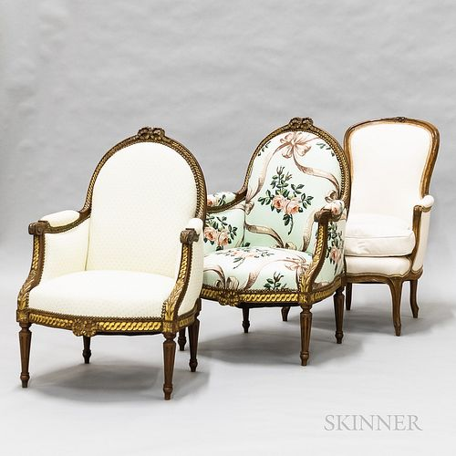 Three Upholstered Fruitwood Bergeres