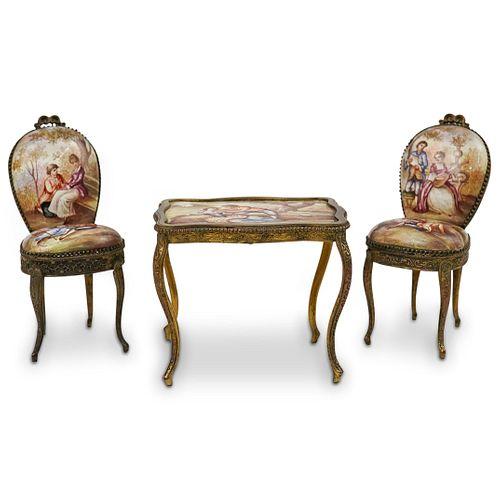 Antique Viennese Bronze & Enamel Table Set