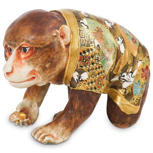 Japanese Satsuma Porcelain Monkey Figurine