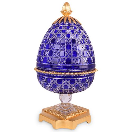 Imperial Style Cobalt Crystal & Dore Bronze Egg