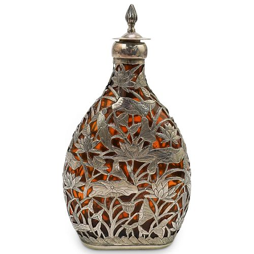Japanese Sterling Silver & Amber Glass Flask