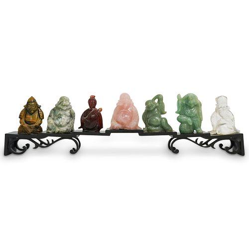 (7Pc) Chinese Semi-Precious Stone Figures