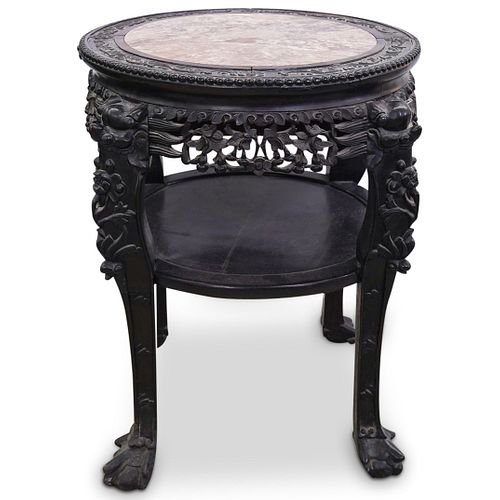 Chinese Wooden Hand Carved Table with Marble Top