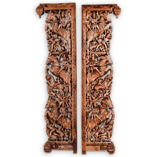 Indian Carved Relief Wooden Panels