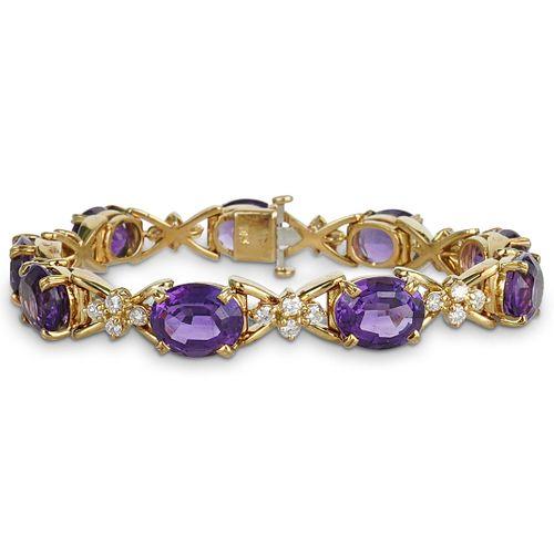 18K Gold, Amethyst & Diamond Bracelet