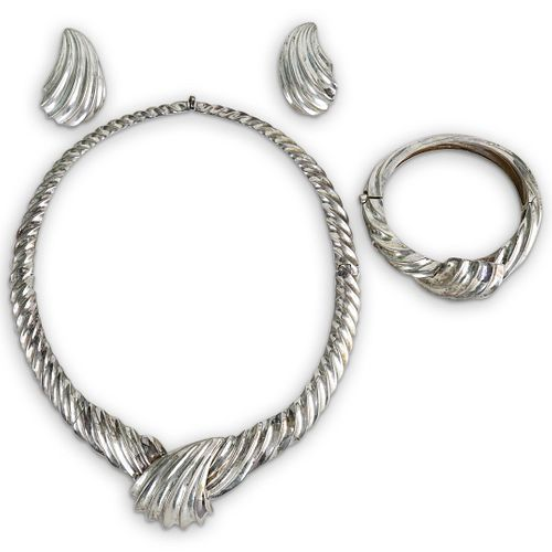 (4 Pc) Tiffany and Co. Sterling Silver Jewelry Suite