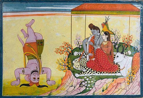 Pahari School Painting, Shiva and Parvati on Mount Kailasa