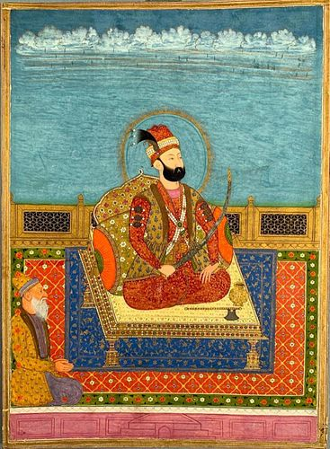 Indian Mughal Painting, Emperor Enthroned
