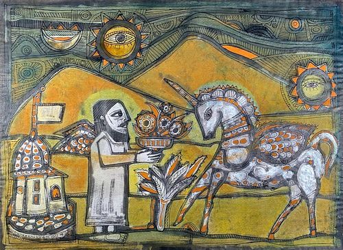 Badri Narayan Watercolor, Man With Pot of Flowers and Unicorn