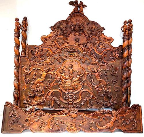 Spectacular Italian Carved Walnut Bed, Late 19thc.