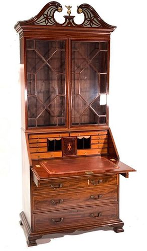 English Georgian Style Secretary Bookcase, c.1850