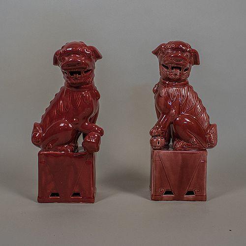 Par de leones Fu en porcelana color rojo