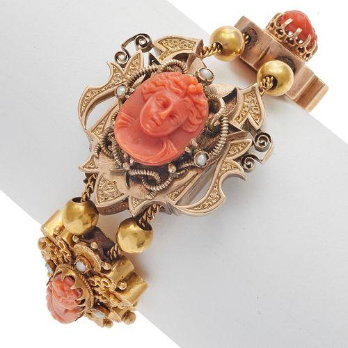 Victorian Coral, Seed Pearl, 14k Gold Slide Bracelet