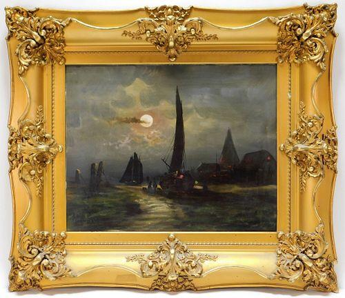 Aft. Edward Moran Nocturnal Ship Painting