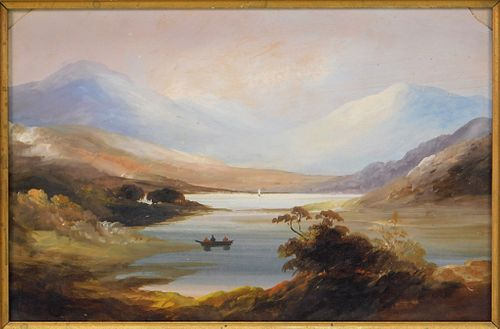 19C Hudson River School O/B Landscape Painting