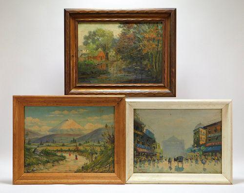 3PC Assorted Impressionist Landscape Paintings