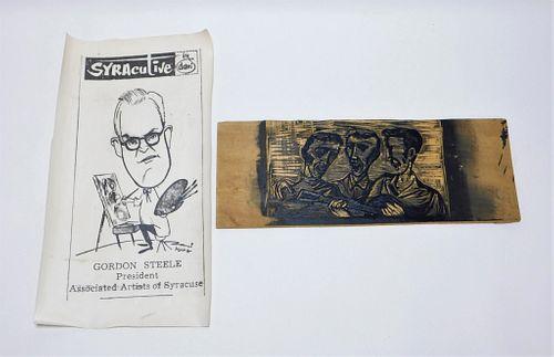 2PC Gordon Steele Printing Plate & Poster